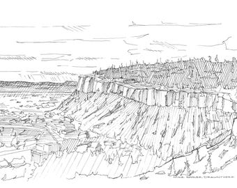 Ink Sketch of the Rimrocks near Billings, Montana