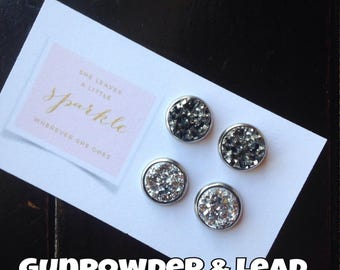 12mm Gunpowder and Lead Combo Stud Earrings Dark Silver and Light Silver Cabochons