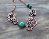 Green wire copper necklace, boho, asymmetric, spiral necklace