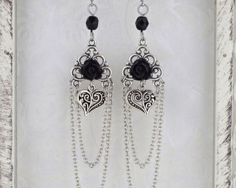 Black Black Heart - Gothic Victorian earrings - Chandelier Earrings - Gothic Victorian rose earrings