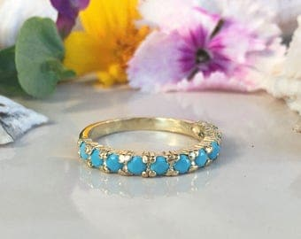 20% off-SALE! Turquoise Ring - Sleeping Beauty Turquoise - December Ring - Half Eternity Ring - Turquoise Jewelry - Simple Ring - Prong Ring