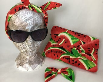 Watermelon floral clutch bag ~ Matching hair accessories, headband and bow clip ~ Vintage Rockabilly 40s & 50s ~ Get ready for summer!