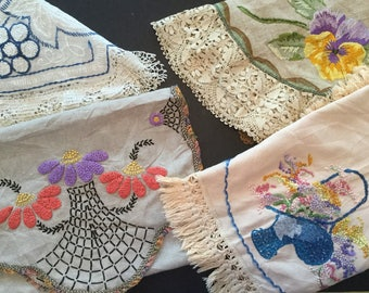 Vintage Linen Cutter Lot of 5 French Knot and Silk Embroidery A7