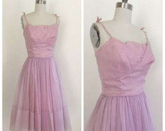 Vintage 1960s Orchid Colored Organza Party Dress by Coquette