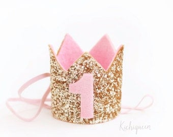 Miniature 1st birthday crown headband- pink and gold baby / girl birthday crown- pick any number