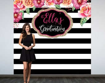 Graduation Personalized Photo Backdrop, Black and White Stripes Photo Backdrop, Birthday Photo Backdrop, Photo Booth Backdrop, Sweet 16th