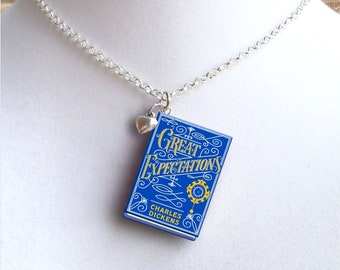 Great Expectations with Tiny Heart Charm - Miniature Book Necklace - Style 2