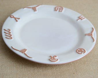 "Frankoma / Ranch Bone Salad Plate / White Sand Pottery / 7.75"""