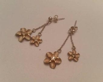 Sterling Silver Flower Earrings Dangle Chain 925