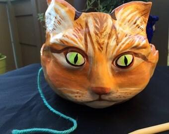 Large yarn bowl, knitting bowl, orange tabby cat, bowl,planter