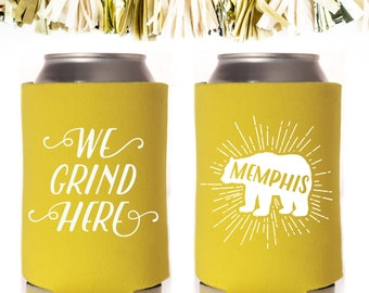 Yellow Memphis Can Cooler Neoprene Can Coolers // Bear Grizzlies Grizzly Basketball We Grind Here