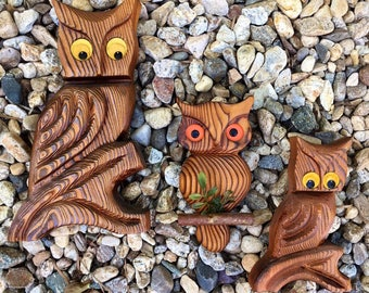 3 Wise wooden Owls-they're wall art silly