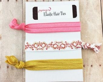 Filigree Hair Ties - Elastic Hair Ties - Hair Tie Favors - Bridesmaid Gift - Shower Favors - Party Favors - Ponytail - Knotted Bracelet