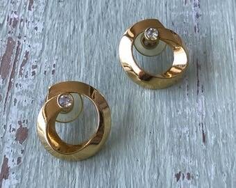 Vintage Rhinestones, Gold Earrings, Pierced Earrings, Hoop Earrings, Rhinestone Earrings, Vintage Earrings, Gold Hoops, Button Earrings