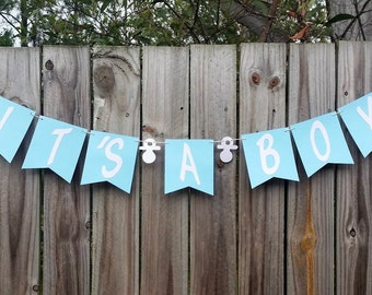 IT'S A BOY Bunting, Banner, Garland, Photo Prop CUSTOM colours, Baby Shower, It's A Girl