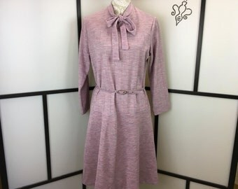 Lavender Casual Dress, Women's Vintage Dress, Bow Belted Dress, Front Tie Dress, Lady Blair, Extra Large