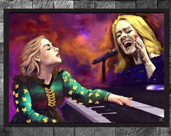 Adele Portrait Singer Painting Photo Print Home Decor