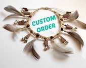 Barefoot Sandals with feather frings in earth tones and jasper beads
