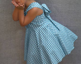 Soft blue dress, Blue polka dot twirly dress, Toddler sundress, Blue photo prop, Baby polka dot dress, Blue boutique dress