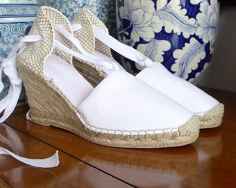 Lace up espadrille wedges - WHITE - mumishoes - made in spain