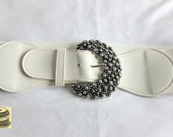 Vintage Ivory Elastic Belt with Silver Pebbled Metal Buckle. By Express