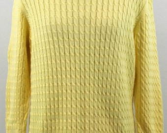 Bright yellow cotton cable knit pullover sweater. By Lands End