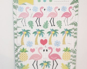 paper sticker  flamingo & pineapple
