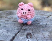Crochet Amigurumi Cute Kawaii Farm Pink Pig Small Stuffed Animal Plushie Accessory Keychain Christmas Ornament Office Decor Holiday Decor