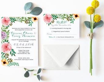 Flora - Flower- Wedding Invitations Bundle - Invite and RSVP