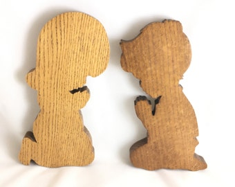 Set of Two Vintage Wood Profiles of Boy and Girl Praying.