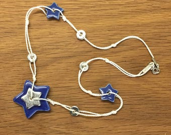 Ceramic and silk beaded necklace, star pendant, delicate necklace,