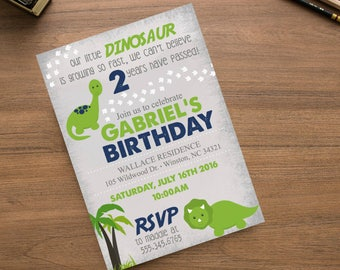 Dinosaur Boys Birthday Navy Blue Green Party Invite, Boys Birthday Invite, Dinosaur Footprint Map, thank you card Printed or Printable File,