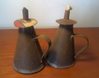 Two hand made vintage oil lamps (pair)