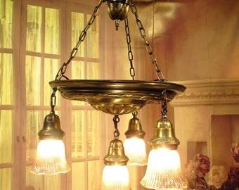 Antique Vintage Chandelier Pan 1920's Fixture Glass Light Pendant 4 light