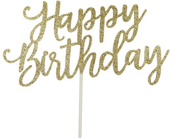 PartyFuFu Gold Happy Birthday Cake Topper
