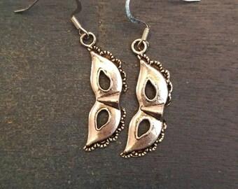 Silver Masquerade Mask Drop Earrings