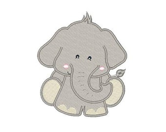 Tiny the Ambitious Elephant Machine Embroidery Design