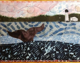 Whale of a tail quilted postcard fabric postcard Darcy Doodle Quilts Bay of Fundy New Brunswick Canada