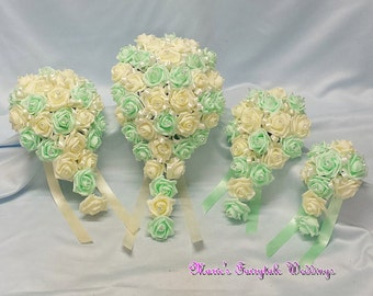Artificial Wedding Flowers Brides, Bridesmaid, Flower Girl Teardrop Bouquet in Mint Green Foam Roses with diamante