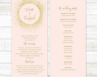 Blush Pink Gold Wedding Program, Wedding Program Template, Wedding Program Printable, Custom Wedding Program, Editable Wedding Program