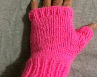 Knit Hot pink fingerless gloves/ mitts