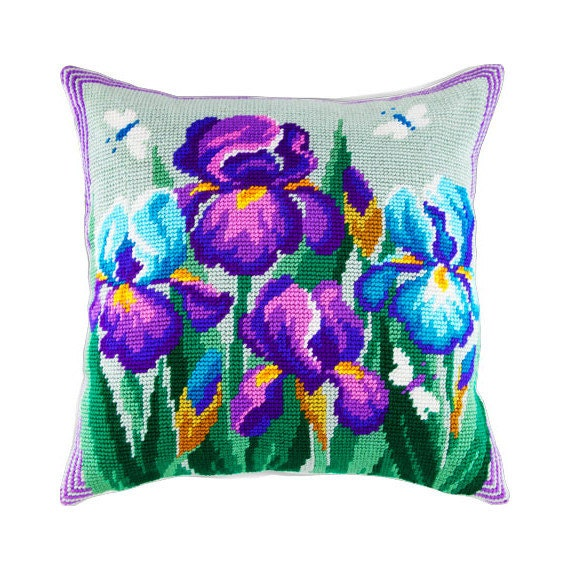 Cross Stitch Kit, Irises Pillow, Size 16