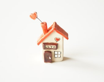 Miniature ceramic house, clay houses miniature house tiny house clay anniversary ceramic gift pottery house, small building