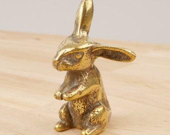 Rabbit Figurine / Easter Bunny / Hare || vintage  solid brass