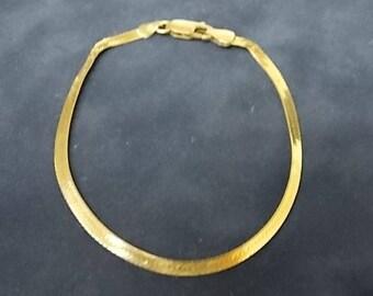 Womens Vintage Estate 14K Yellow Gold Herringbone Bracelet 2.7g E1185