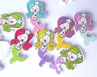 mermaid buttons wooden mermaid buttons great for sewing crafts or scrapbooking mermaid sold 6 packs wooden colourful mermaid buttons