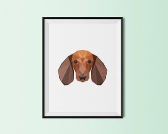 Dachshund Dog Portrait | Dachshund Art Print | Dachshund Custom Print | Dachshund Geometric Art | Weiner Dog
