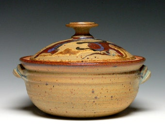 Hand Thrown Casserole Dish, Pottery Casserole Dish, Covered Bowl, Stoneware Baking Dish, 2 qt. Covered Baking Dish