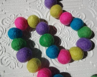 25mm Rainbow Felt pom poms in Yellow, purple, green & Turquoise. Perfect for decor, garlands, photo props and crafts, 50 pieces