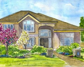 House illustration. Custom house portrait. Watercolor house painting. Drawing of house. Painting of home. Housewarming gift. Wedding gift